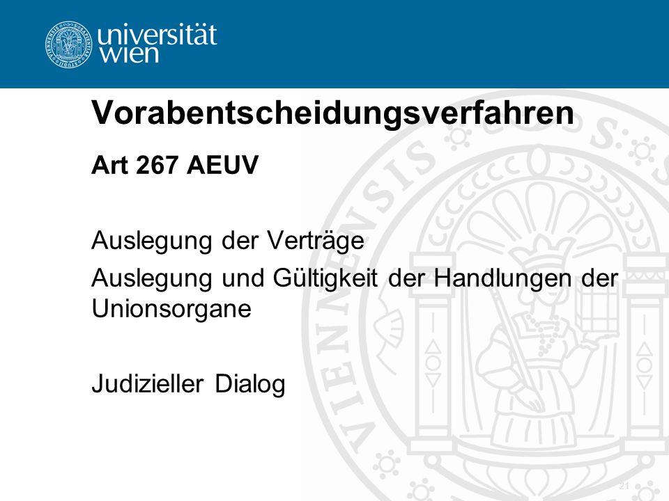 Vorabentscheidungsverfahren Art 267 AEUV Auslegung der Verträge Auslegung und Gültigkeit der Handlungen der Unionsorgane Judizieller Dialog 21