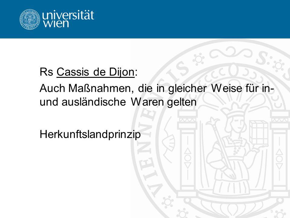 Rs Cassis de Dijon: Auch Maßnahmen, die in gleicher Weise für in- und ausländische Waren gelten Herkunftslandprinzip 9