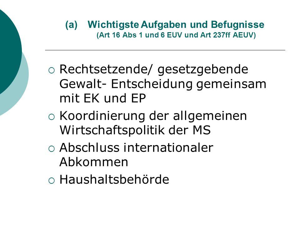(a)Wichtigste Aufgaben und Befugnisse (Art 16 Abs 1 und 6 EUV und Art 237ff AEUV) Rechtsetzende/ gesetzgebende Gewalt- Entscheidung gemeinsam mit EK u