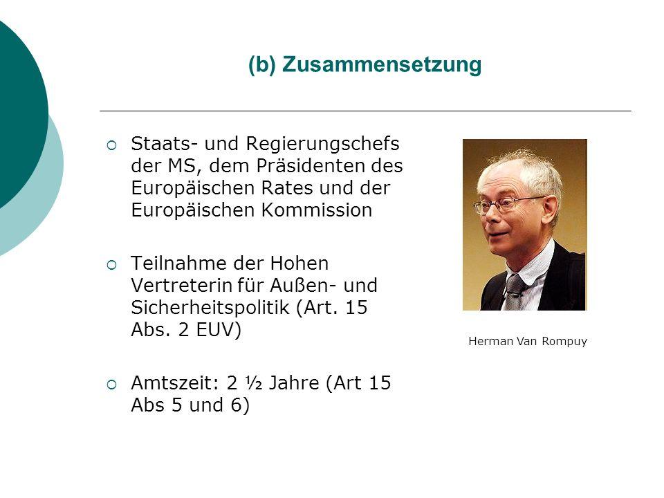(b) Zusammensetzung Staats- und Regierungschefs der MS, dem Präsidenten des Europäischen Rates und der Europäischen Kommission Teilnahme der Hohen Ver