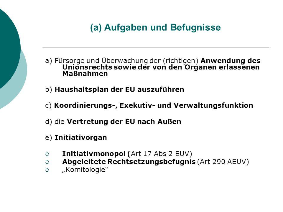 (a) Aufgaben und Befugnisse a) Fürsorge und Überwachung der (richtigen) Anwendung des Unionsrechts sowie der von den Organen erlassenen Maßnahmen b) H