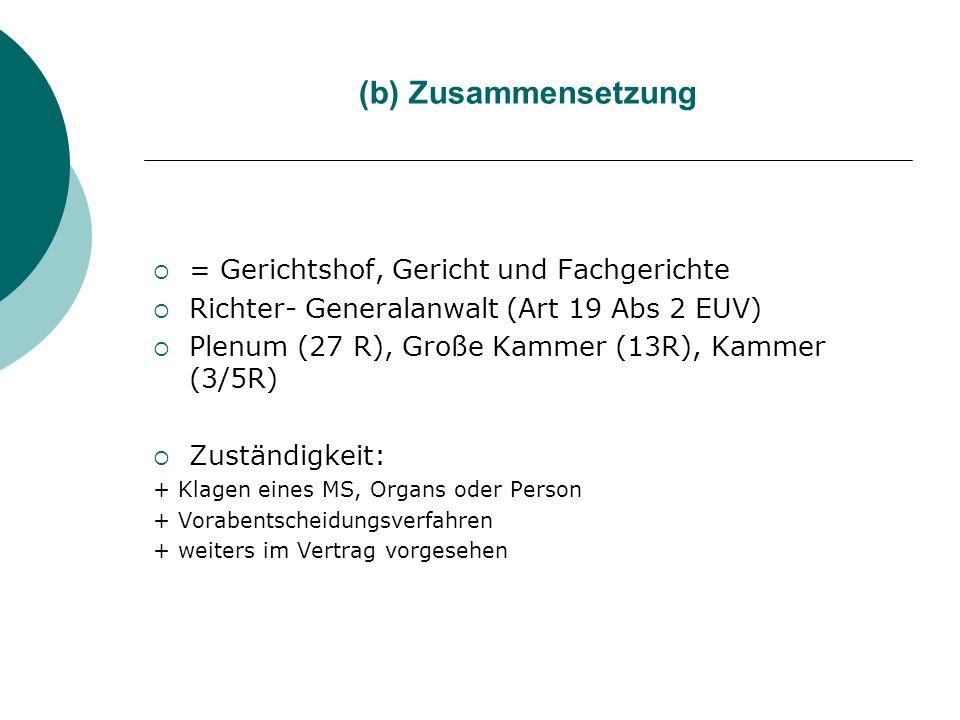 (b) Zusammensetzung = Gerichtshof, Gericht und Fachgerichte Richter- Generalanwalt (Art 19 Abs 2 EUV) Plenum (27 R), Große Kammer (13R), Kammer (3/5R)