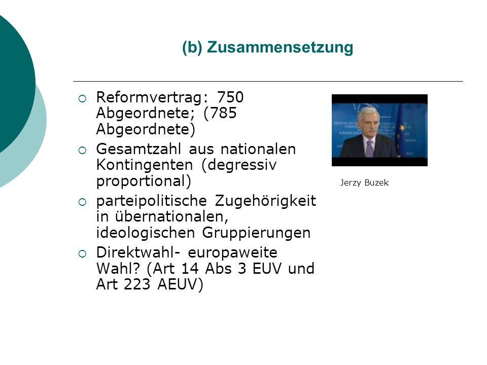 (b) Zusammensetzung Reformvertrag: 750 Abgeordnete; (785 Abgeordnete) Gesamtzahl aus nationalen Kontingenten (degressiv proportional) parteipolitische