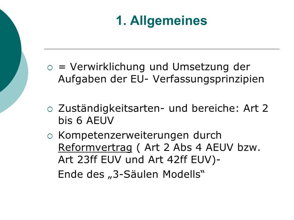 1. Allgemeines = Verwirklichung und Umsetzung der Aufgaben der EU- Verfassungsprinzipien Zuständigkeitsarten- und bereiche: Art 2 bis 6 AEUV Kompetenz