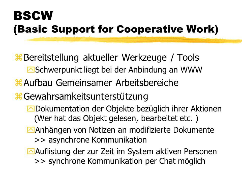 BSCW (Basic Support for Cooperative Work) zBereitstellung aktueller Werkzeuge / Tools ySchwerpunkt liegt bei der Anbindung an WWW zAufbau Gemeinsamer