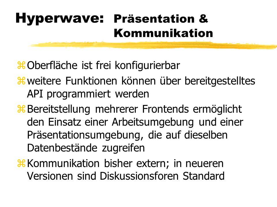 Hyperwave: Präsentation & Kommunikation zOberfläche ist frei konfigurierbar zweitere Funktionen können über bereitgestelltes API programmiert werden z