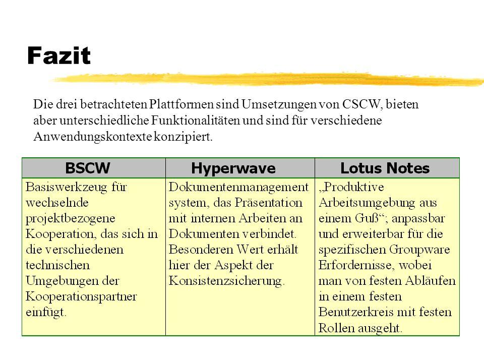 Fazit Die drei betrachteten Plattformen sind Umsetzungen von CSCW, bieten aber unterschiedliche Funktionalitäten und sind für verschiedene Anwendungsk