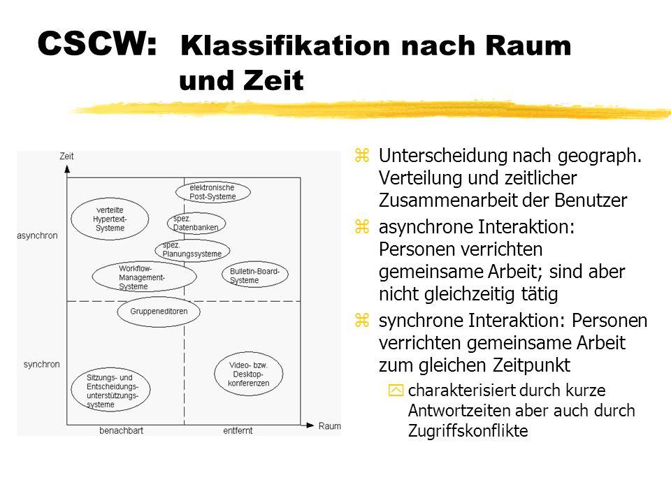 CSCW: Klassifikation nach Art der Unterstützung z Dreiecks-Matrix aus 3 Unterstüzungsfunktionen z Kommunikation: Informationsaustausch z Koordination: planen, steuern, überwachen z Kooperation: eigentliche Zusammenarbeit z Position im Dreieck gibt an wie die CSCW-Systeme diese Parameter priorisieren