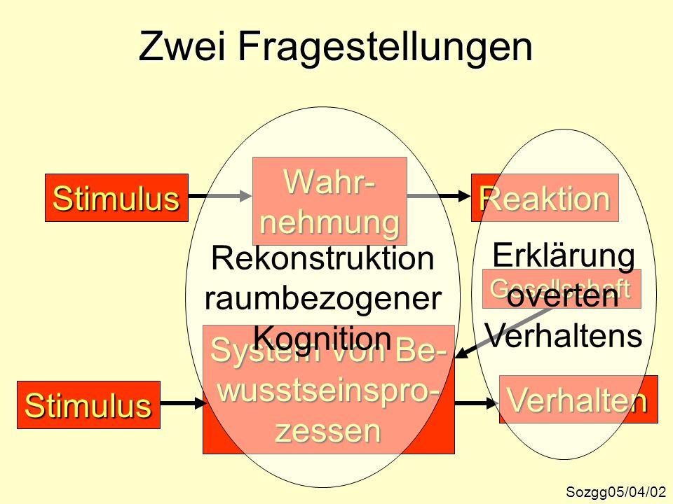 Zwei Fragestellungen ReaktionStimulus Wahr-nehmung System von Be- wusstseinspro-zessen Verhalten Stimulus Gesellschaft Sozgg05/04/02 Rekonstruktion ra
