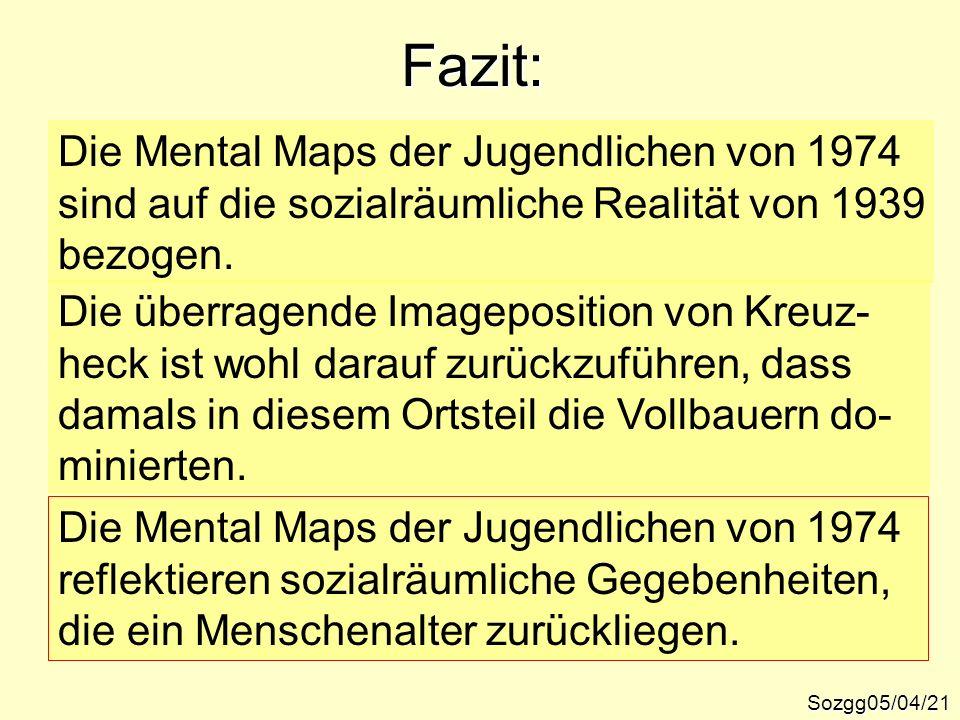 Fazit: Sozgg05/04/21 Die Mental Maps der Jugendlichen von 1974 sind auf die sozialräumliche Realität von 1939 bezogen. Die überragende Imageposition v
