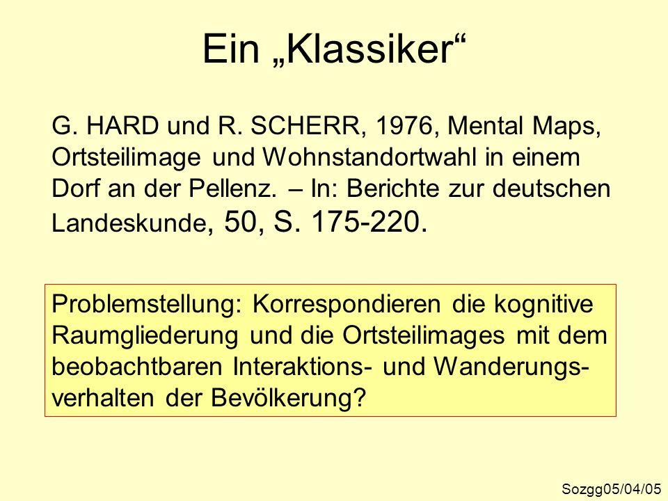 Ein Klassiker Sozgg05/04/05 G. HARD und R. SCHERR, 1976, Mental Maps, Ortsteilimage und Wohnstandortwahl in einem Dorf an der Pellenz. – In: Berichte
