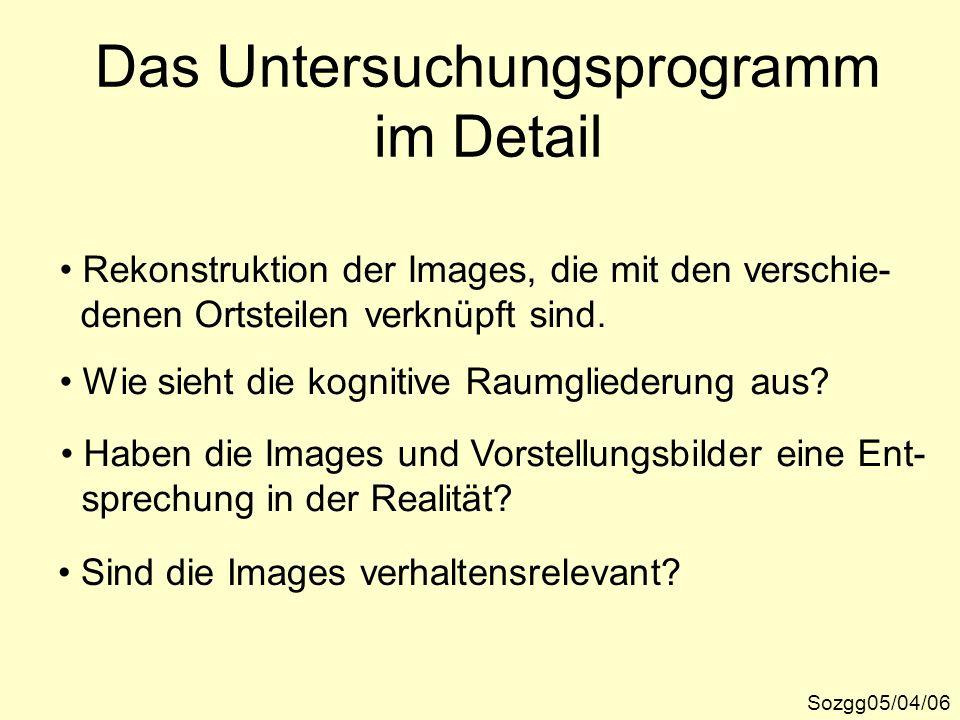 Das Untersuchungsprogramm im Detail Sozgg05/04/06 Rekonstruktion der Images, die mit den verschie- denen Ortsteilen verknüpft sind. Wie sieht die kogn