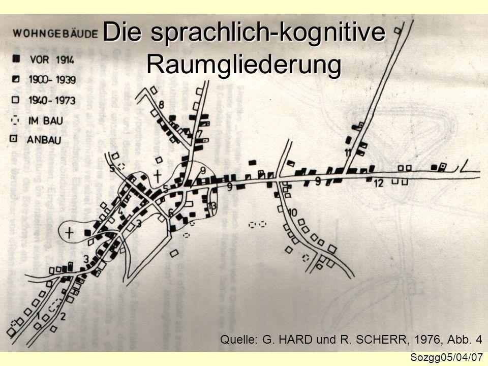 Die sprachlich-kognitive Raumgliederung Sozgg05/04/07 Quelle: G. HARD und R. SCHERR, 1976, Abb. 4