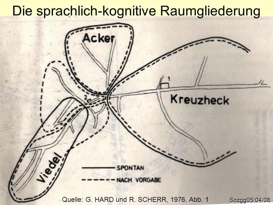 Sozgg05/04/08 Die sprachlich-kognitive Raumgliederung Quelle: G. HARD und R. SCHERR, 1976, Abb. 1