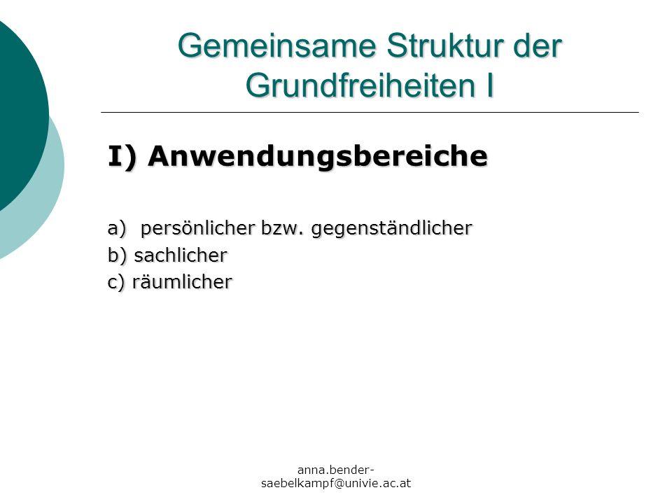 anna.bender- saebelkampf@univie.ac.at Gemeinsame Struktur der Grundfreiheiten I I) Anwendungsbereiche a) persönlicher bzw. gegenständlicher b) sachlic