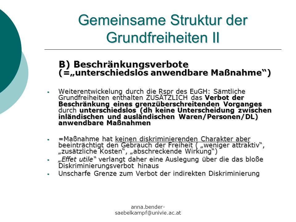 anna.bender- saebelkampf@univie.ac.at Gemeinsame Struktur der Grundfreiheiten II B) Beschränkungsverbote (=unterschiedslos anwendbare Maßnahme) B) Bes