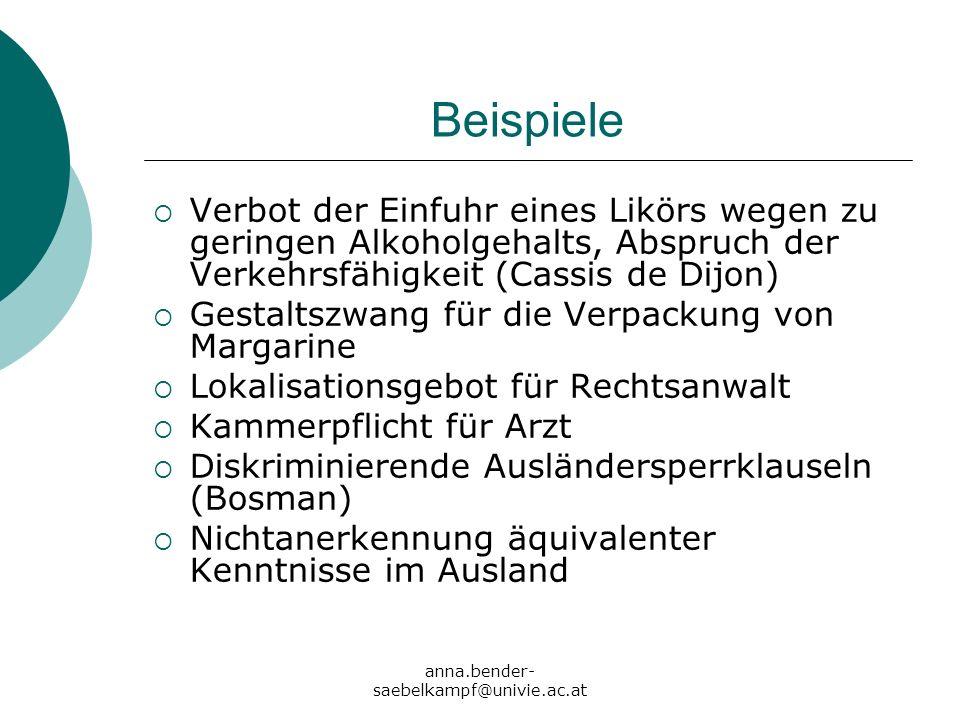 anna.bender- saebelkampf@univie.ac.at Beispiele Verbot der Einfuhr eines Likörs wegen zu geringen Alkoholgehalts, Abspruch der Verkehrsfähigkeit (Cass
