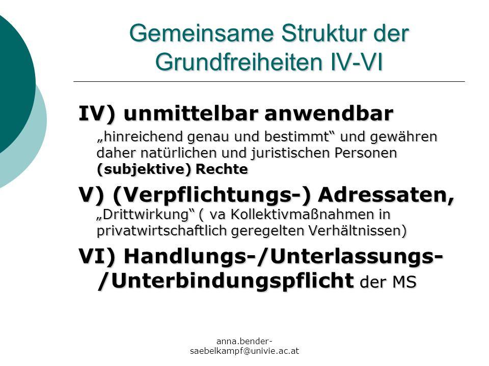 anna.bender- saebelkampf@univie.ac.at Gemeinsame Struktur der Grundfreiheiten IV-VI IV) unmittelbar anwendbar hinreichend genau und bestimmt und gewäh