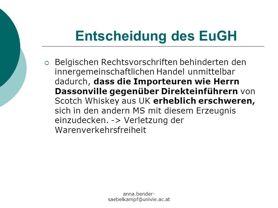 anna.bender- saebelkampf@univie.ac.at Entscheidung des EuGH Belgischen Rechtsvorschriften behinderten den innergemeinschaftlichen Handel unmittelbar d