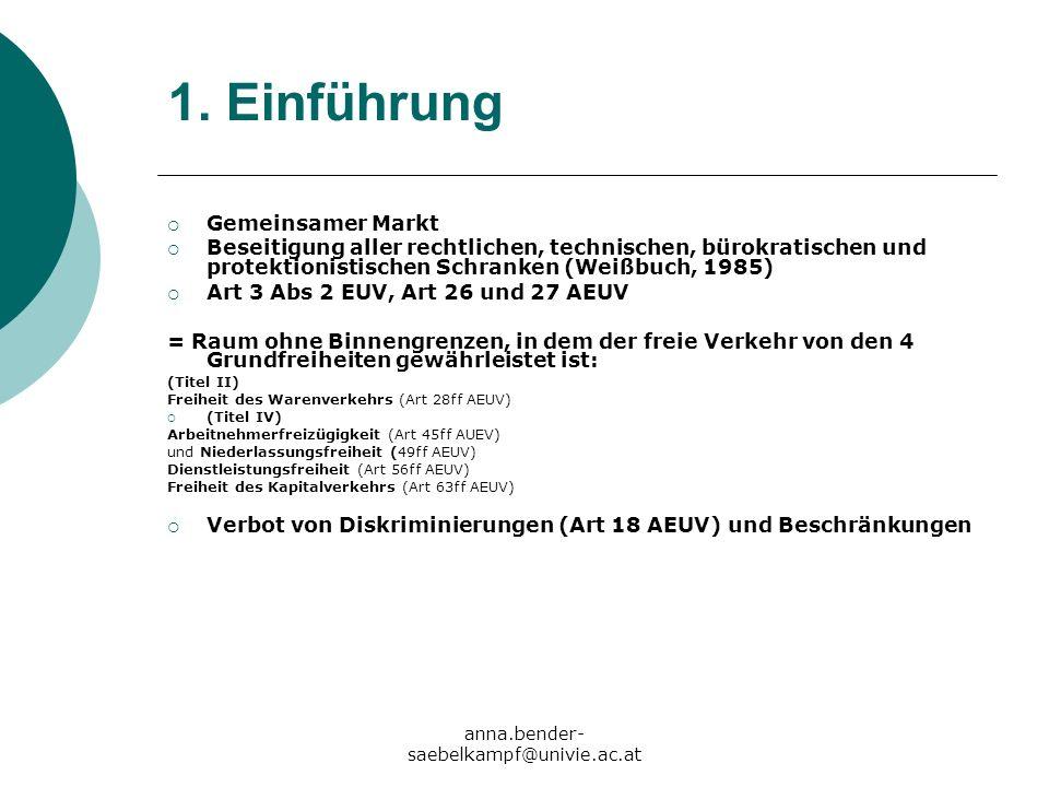 anna.bender- saebelkampf@univie.ac.at 1. Einführung Gemeinsamer Markt Beseitigung aller rechtlichen, technischen, bürokratischen und protektionistisch