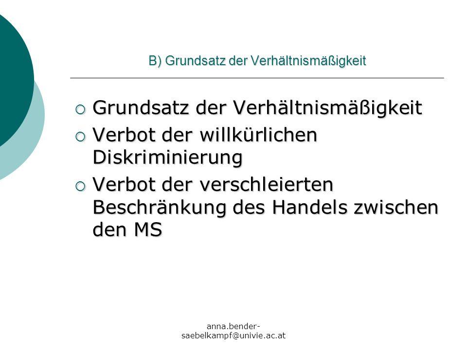anna.bender- saebelkampf@univie.ac.at B) Grundsatz der Verhältnismäßigkeit Grundsatz der Verhältnismäßigkeit Grundsatz der Verhältnismäßigkeit Verbot