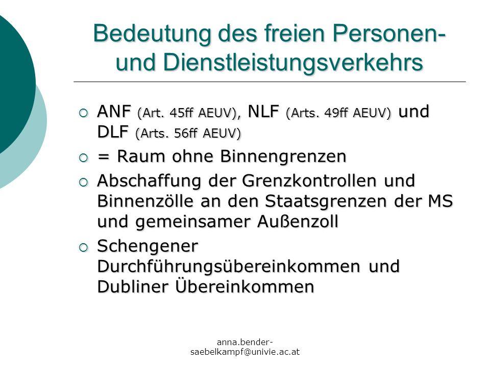 anna.bender- saebelkampf@univie.ac.at Bedeutung des freien Personen- und Dienstleistungsverkehrs ANF (Art. 45ff AEUV), NLF (Arts. 49ff AEUV) und DLF (
