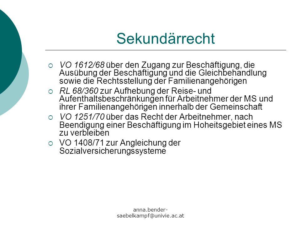 anna.bender- saebelkampf@univie.ac.at Sekundärrecht VO 1612/68 über den Zugang zur Beschäftigung, die Ausübung der Beschäftigung und die Gleichbehandl