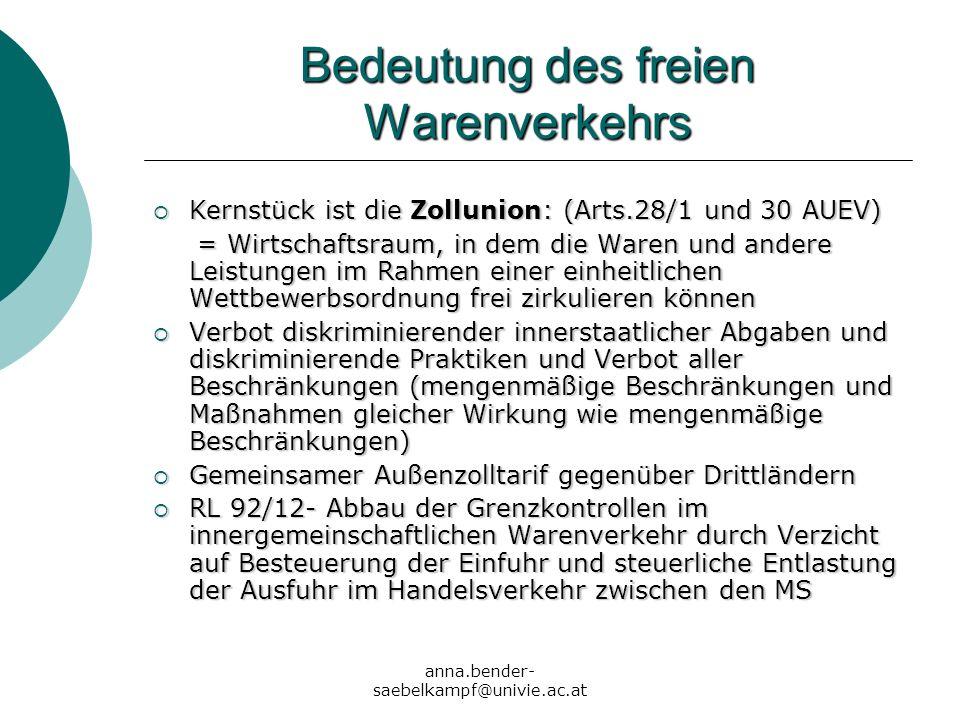 anna.bender- saebelkampf@univie.ac.at Beispiele Gas Elektrizität Abfälle Abgrenzung zur DL DL ist in Ware verkörpert:-> Ware Filme, Pc-Programme, Übersetzungen, Baupläne Körperlicher Gegenstand verwirklicht DL: Ausstrahlung von Fernsehsendungen, Übertragung bestimmter Rechte (UrheberR, PatentR, MarkenR) Abgrenzung zur KVF +Geschäfte mit Aktien, Schuldverschreibungen, Wertpapiere -> Kapitalverkehr