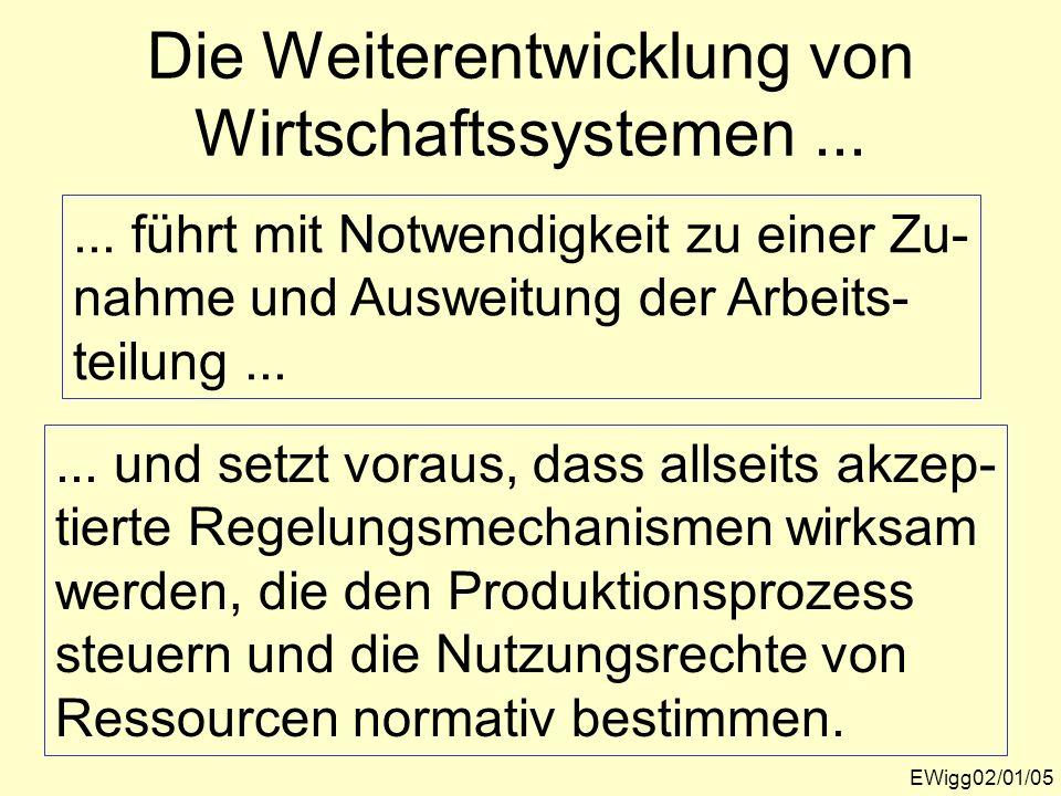 Die Weiterentwicklung von Wirtschaftssystemen... EWigg02/01/05... führt mit Notwendigkeit zu einer Zu- nahme und Ausweitung der Arbeits- teilung......