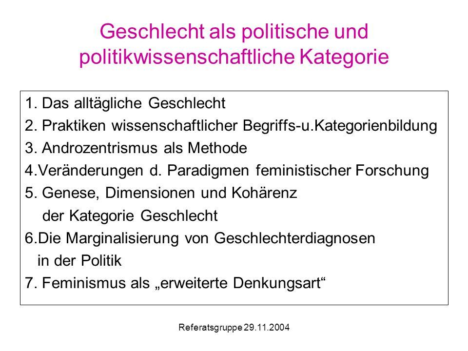 Referatsgruppe 29.11.2004 Geschlecht als politische und politikwissenschaftliche Kategorie 1.