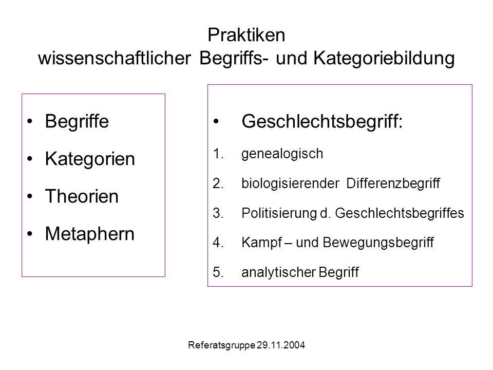 Referatsgruppe 29.11.2004 Praktiken wissenschaftlicher Begriffs- und Kategoriebildung Begriffe Kategorien Theorien Metaphern Geschlechtsbegriff: 1.genealogisch 2.biologisierender Differenzbegriff 3.Politisierung d.