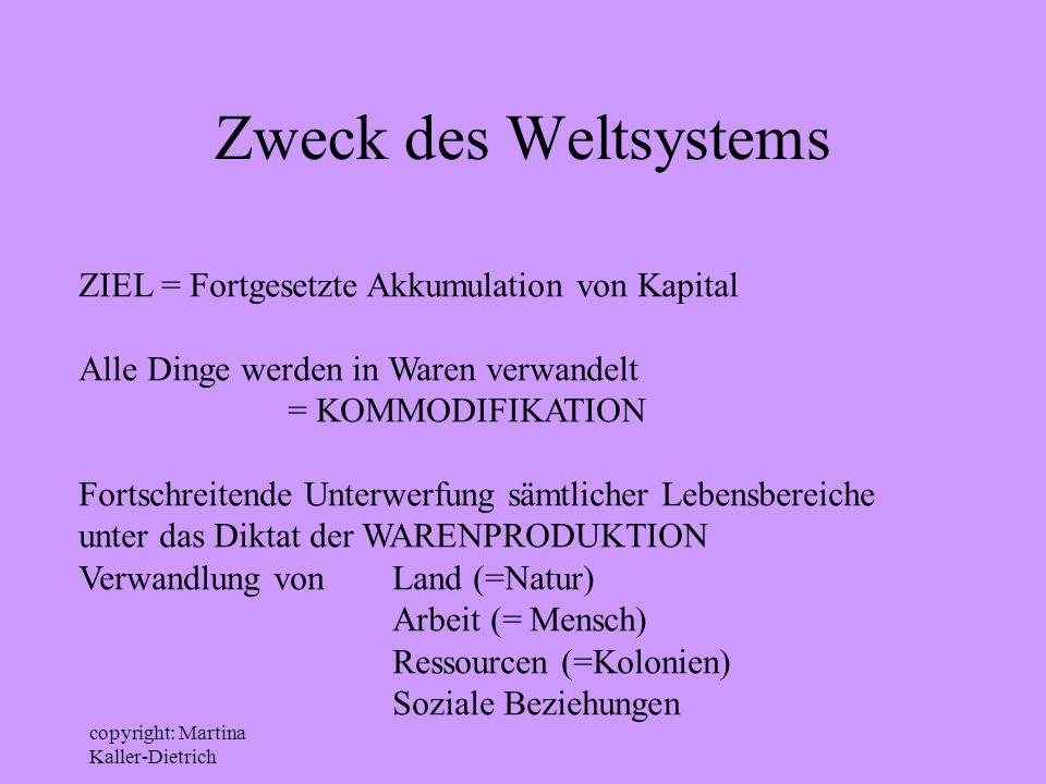 copyright: Martina Kaller-Dietrich Zweck des Weltsystems ZIEL = Fortgesetzte Akkumulation von Kapital Alle Dinge werden in Waren verwandelt = KOMMODIF