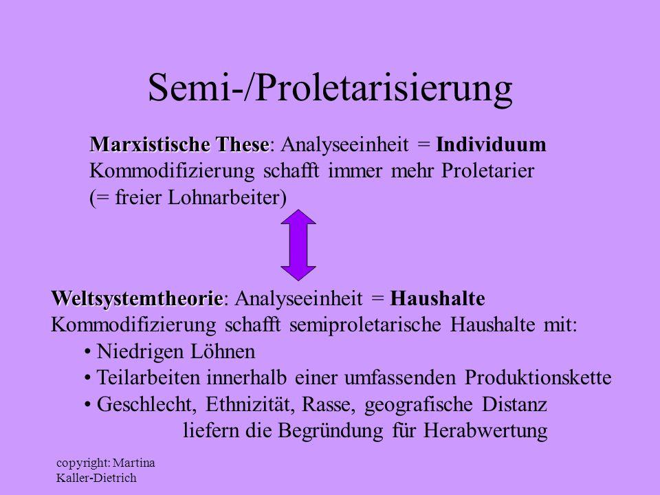 copyright: Martina Kaller-Dietrich Semi-/Proletarisierung Marxistische These Marxistische These: Analyseeinheit = Individuum Kommodifizierung schafft