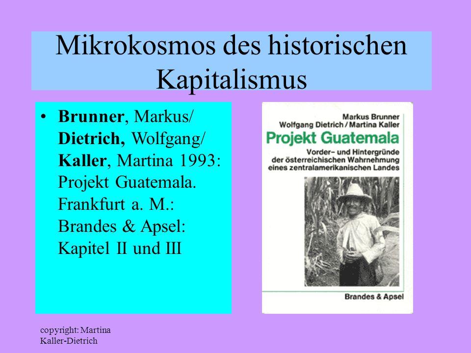 copyright: Martina Kaller-Dietrich Mikrokosmos des historischen Kapitalismus Brunner, Markus/ Dietrich, Wolfgang/ Kaller, Martina 1993: Projekt Guatem