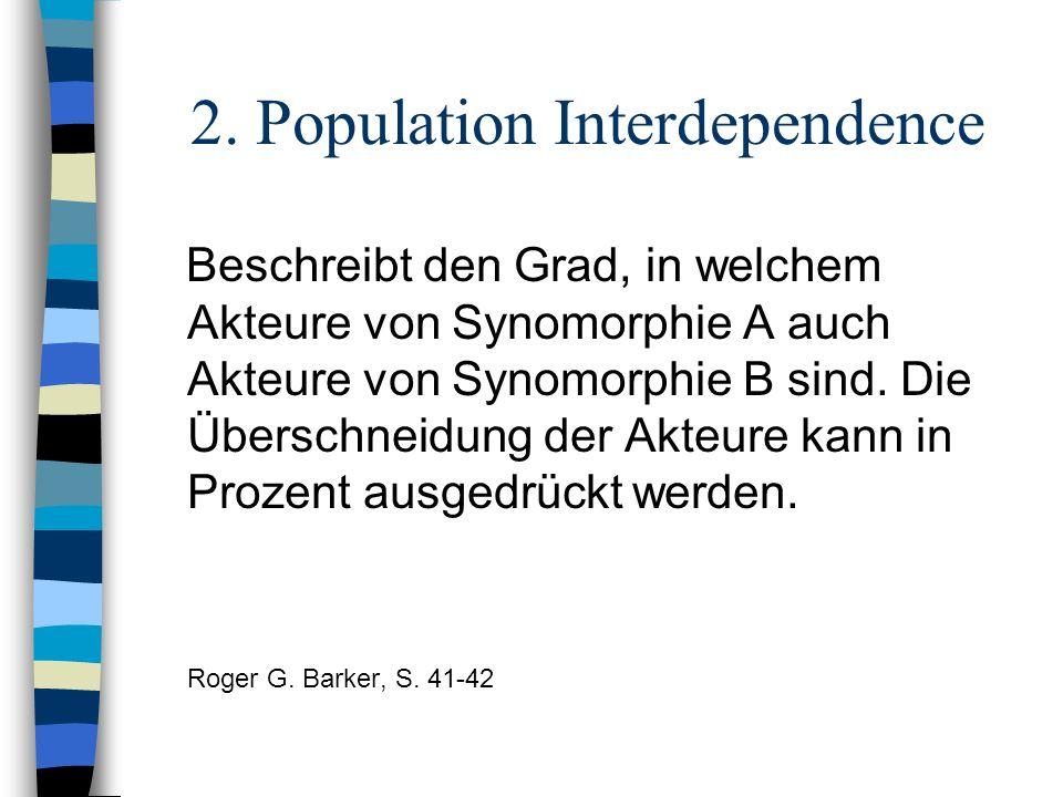 2. Population Interdependence Beschreibt den Grad, in welchem Akteure von Synomorphie A auch Akteure von Synomorphie B sind. Die Überschneidung der Ak