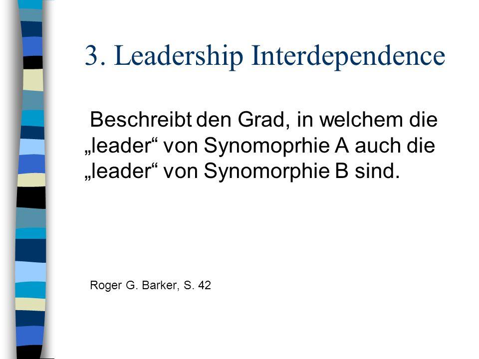3. Leadership Interdependence Beschreibt den Grad, in welchem die leader von Synomoprhie A auch die leader von Synomorphie B sind. Roger G. Barker, S.