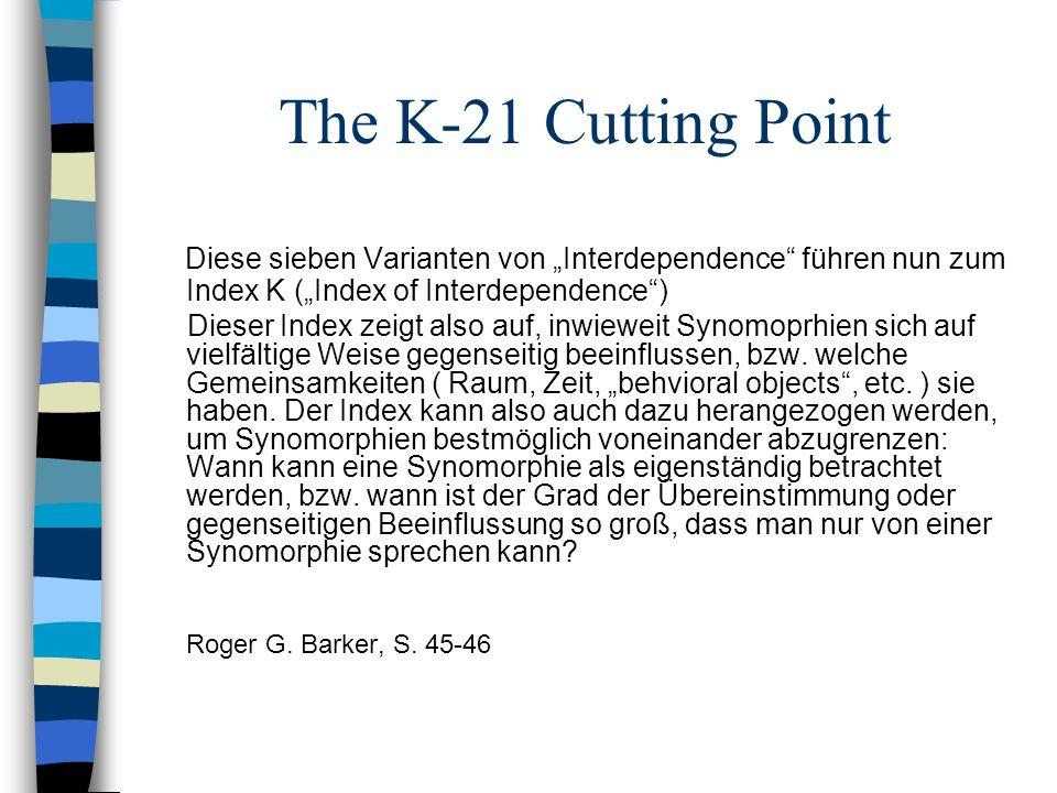 The K-21 Cutting Point Diese sieben Varianten von Interdependence führen nun zum Index K (Index of Interdependence) Dieser Index zeigt also auf, inwie