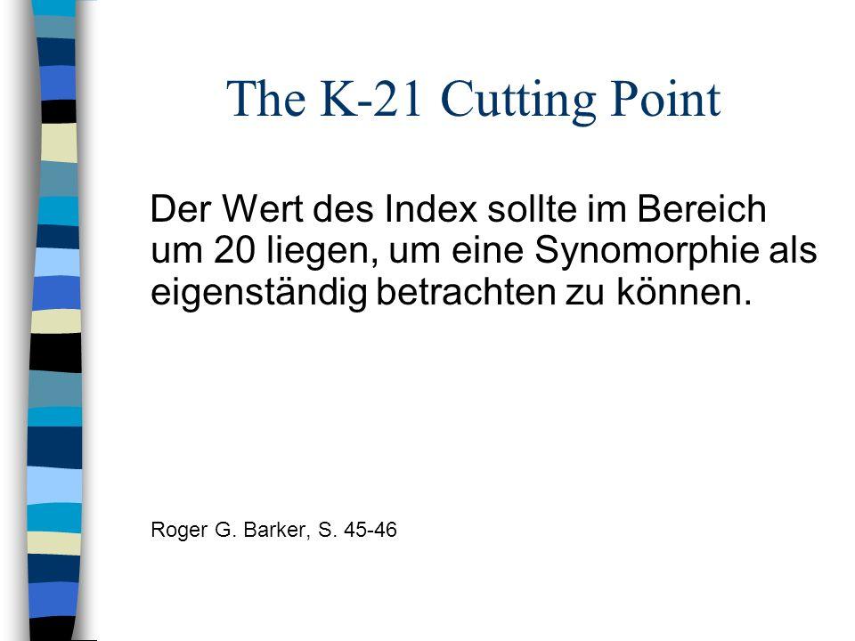 The K-21 Cutting Point Der Wert des Index sollte im Bereich um 20 liegen, um eine Synomorphie als eigenständig betrachten zu können. Roger G. Barker,