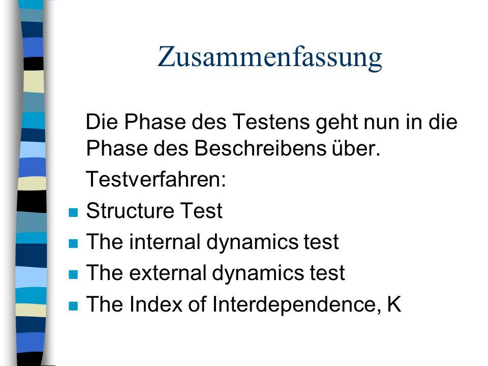 Zusammenfassung Die Phase des Testens geht nun in die Phase des Beschreibens über. Testverfahren: n Structure Test n The internal dynamics test n The