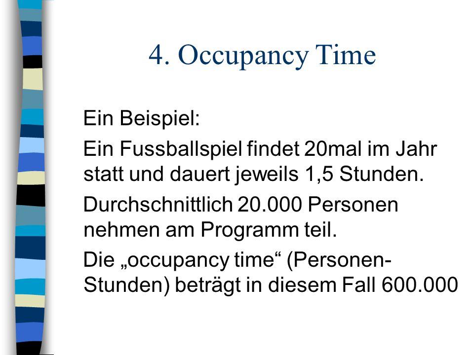 4. Occupancy Time Ein Beispiel: Ein Fussballspiel findet 20mal im Jahr statt und dauert jeweils 1,5 Stunden. Durchschnittlich 20.000 Personen nehmen a