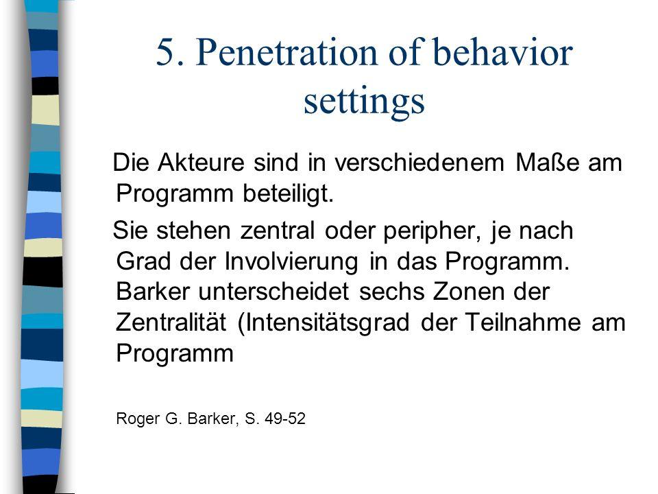 5. Penetration of behavior settings Die Akteure sind in verschiedenem Maße am Programm beteiligt. Sie stehen zentral oder peripher, je nach Grad der I