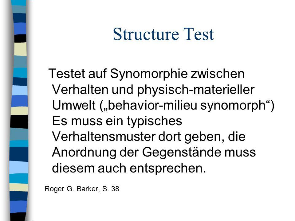 Structure Test Testet auf Synomorphie zwischen Verhalten und physisch-materieller Umwelt (behavior-milieu synomorph) Es muss ein typisches Verhaltensm