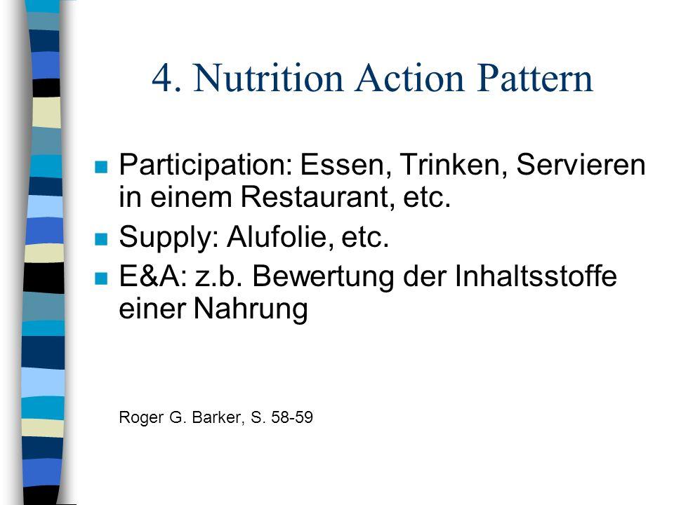4. Nutrition Action Pattern n Participation: Essen, Trinken, Servieren in einem Restaurant, etc. n Supply: Alufolie, etc. n E&A: z.b. Bewertung der In