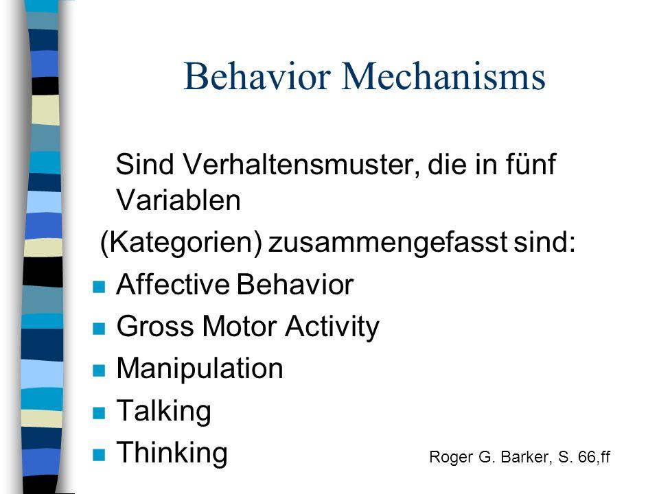 Behavior Mechanisms Sind Verhaltensmuster, die in fünf Variablen (Kategorien) zusammengefasst sind: n Affective Behavior n Gross Motor Activity n Mani