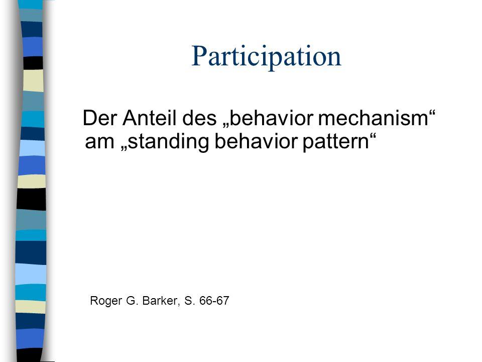 Participation Der Anteil des behavior mechanism am standing behavior pattern Roger G. Barker, S. 66-67