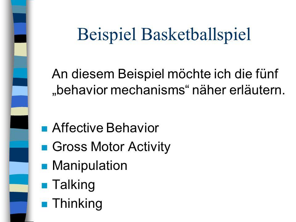 Beispiel Basketballspiel An diesem Beispiel möchte ich die fünf behavior mechanisms näher erläutern. n Affective Behavior n Gross Motor Activity n Man