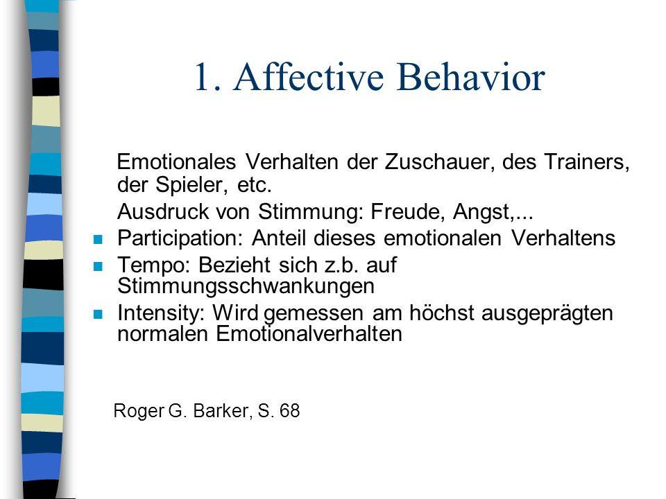 1. Affective Behavior Emotionales Verhalten der Zuschauer, des Trainers, der Spieler, etc. Ausdruck von Stimmung: Freude, Angst,... n Participation: A