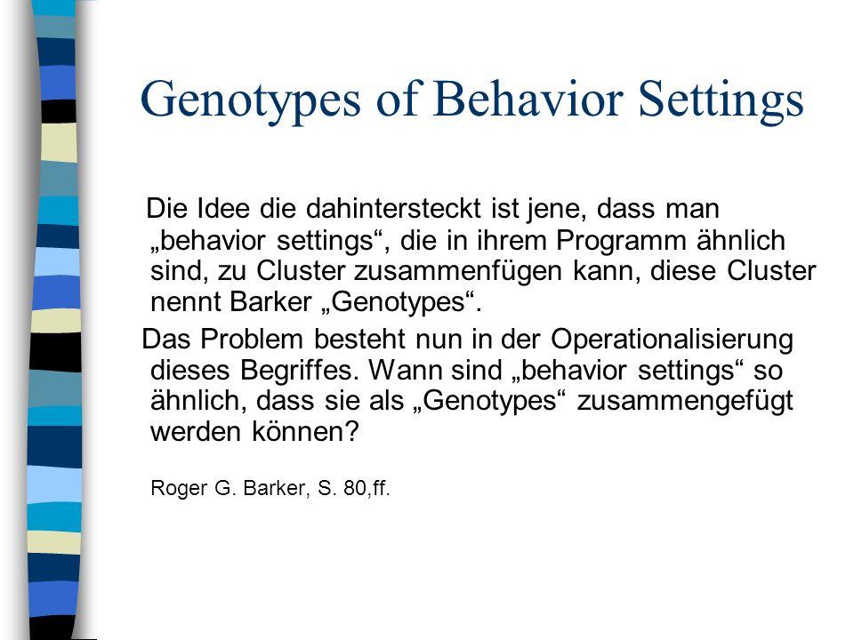 Genotypes of Behavior Settings Die Idee die dahintersteckt ist jene, dass man behavior settings, die in ihrem Programm ähnlich sind, zu Cluster zusamm