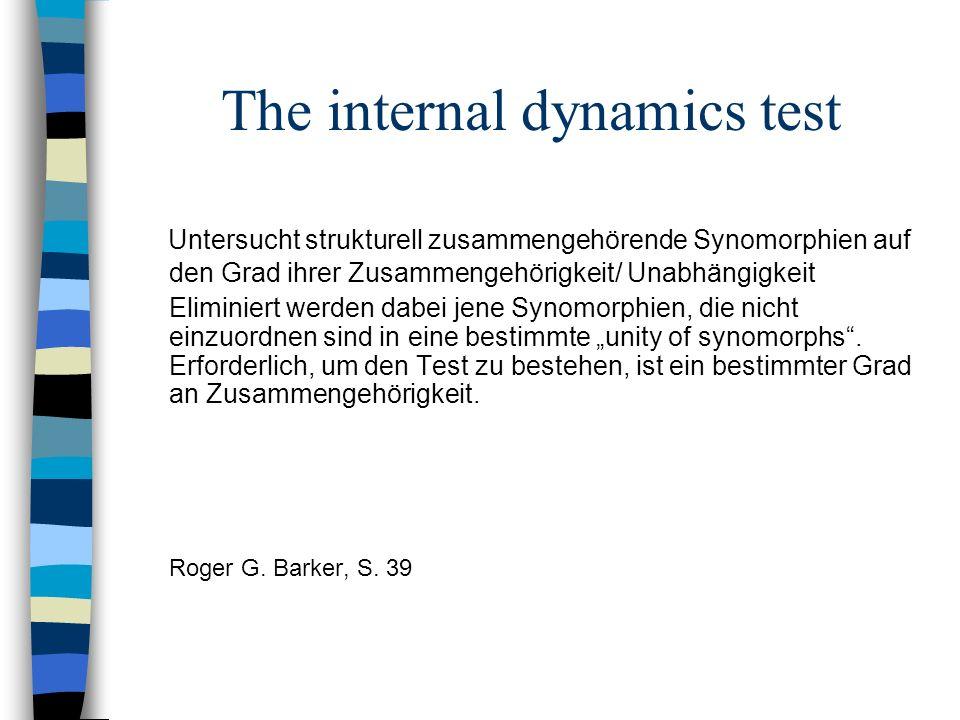 The internal dynamics test Untersucht strukturell zusammengehörende Synomorphien auf den Grad ihrer Zusammengehörigkeit/ Unabhängigkeit Eliminiert wer