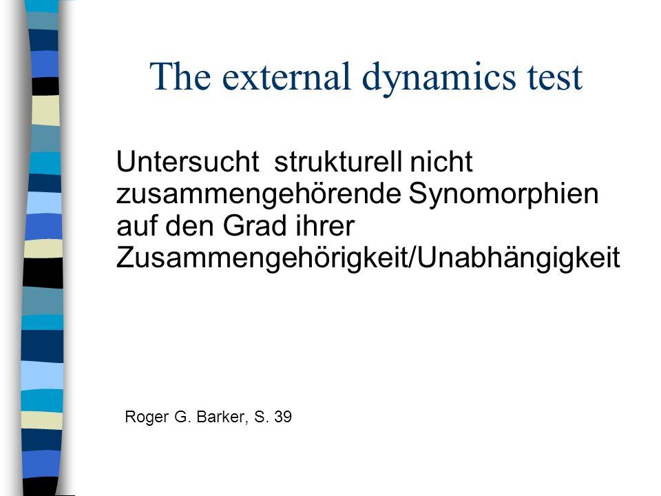 The external dynamics test Untersucht strukturell nicht zusammengehörende Synomorphien auf den Grad ihrer Zusammengehörigkeit/Unabhängigkeit Roger G.